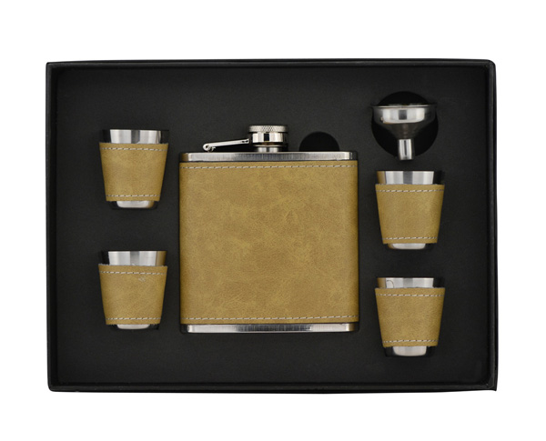 Flask 6 Piece Set With Leather Presentation Box P103klf